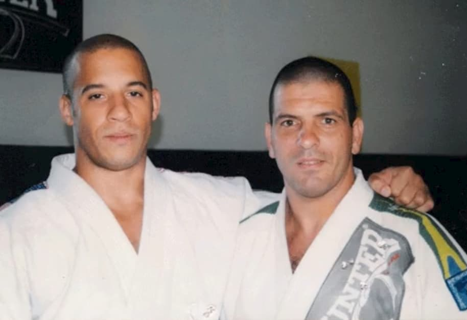 Celebrity Vin Diesel pictured in a BJJ gi with Marcus Vinicius