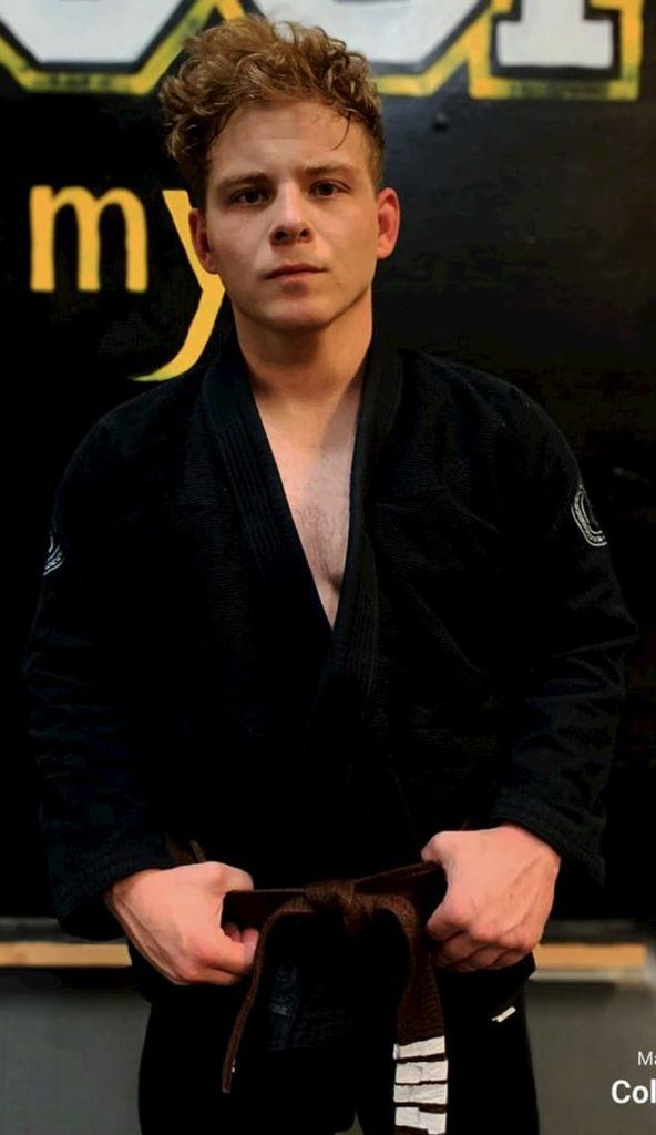 Jonathan Lipnicki sporting 4 stripe Jiu Jitsu brown belt