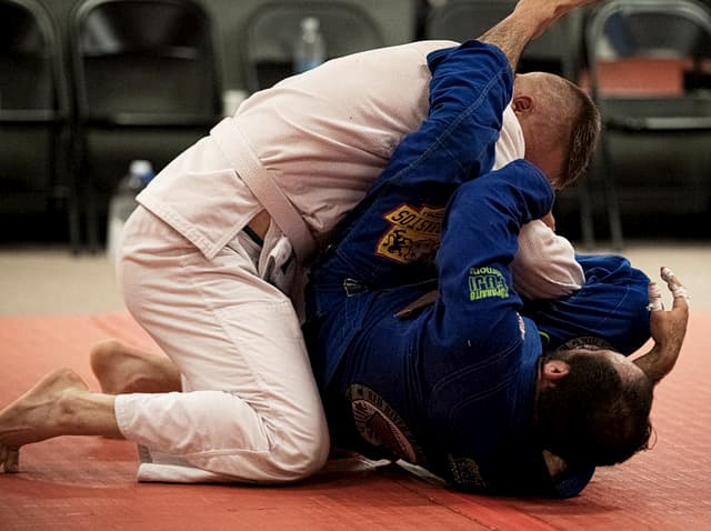 Two men training Jiu Jitsu